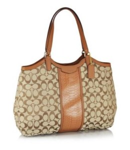 Coach F31444 SIS Signature SnakeShoulders Bag Khaki Saddle coach bags on sale