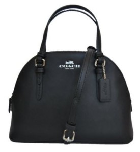 Coach Peyton Signature Mini Domed Crossbody Satchel Black F32582 coach bag on sale