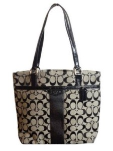 Coach Signature Stripe Tote Shoulder Bag Style 28504 Black and White coach bag on sale
