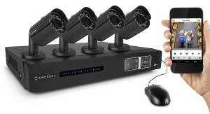Amcrest 720P HD 4CH Video Security System Four Weatherproof Bullet Cameras Night Vision Long Distance Transmit Range 1TB HD 8Ch Recording