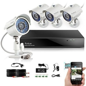 Funlux 8CH Surveillance Security Camera System QR Code Quick View 960H DVR with 4 Night Vision IR Cut Built in 700TVL Weatherproof High Resolution Outdoor Surveillance Cameras