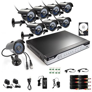 Zmodo 8 Channel DVR Security System with 8 CMOS IR Cameras 500 GB Hard Drive Web Mobile Access