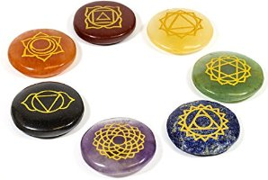 Mystic Ayurveda Healing Crystals - 7 Polished, Engraved Stones