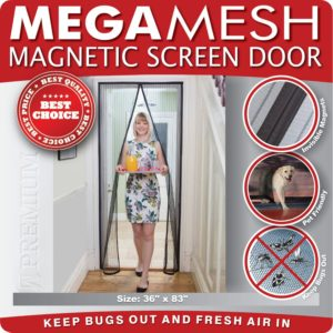 Magnetic Screen Door - Heavy Duty Mesh & Velcro Fits Doors Up to 34x82 MegaMesh Comes With a 12 Month Warranty