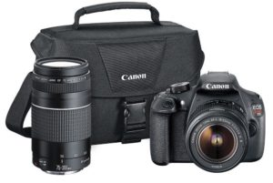 Canon EOS Rebel T5 Digital SLR + canon EF-S 18-55mm f3.5-5.6 IS & EF 75-300mm f4-5.6 III Lens + 58mm 2x Lens - Wide Angle Lens - Auto Power Flash - UV Filter Kit - 24GB SDHC card - Accessory Bundle