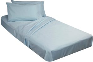 Cotton Poly Fitted Cot Sheet - Blue
