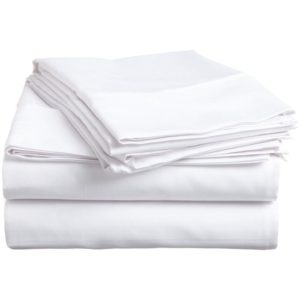 Egyptian Cotton 300 Thread Count Twin XL 3-Piece Sheet Set, Deep Pocket, Single Ply, Solid, White