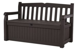 Keter Eden 70 Gal All Weather Outdoor Patio Storage Bench Deck Box, Brown