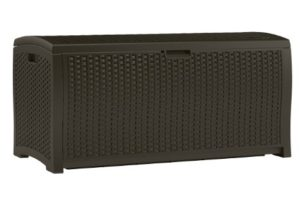 Suncast DBW9200 Mocha Wicker Resin Deck Box, 99-Gallon