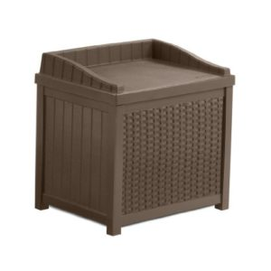Suncast SSW1200 Mocha Resin Wicker 22-Gallon Storage Sea