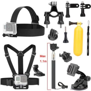 Luxebell 9-in-1 Basic Common Accessories for DBPOWER Waterproof Action Cam 12MP EX5000 WIFI 14MP FHD - Chest Harness Mount + Head Strap + Floating Grip + Suction Cup