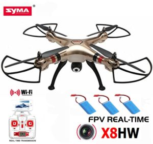 AICase® Syma X8HW Extra 2pcs 2000mAh Battery 4 Channel 6 Axis Gyro 360-Degree 3D Wifi FPV RC Drone RTF Quadcopter with LED Real-time Camera