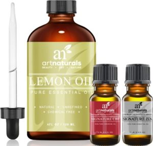 Art Naturals Lemon Essential Oil 4.0 oz 3pc Set - Includes Our Aromatherapy Signature Zen & Chi Blends 10ml Each Therapeutic Grade 100% Pure & Natural