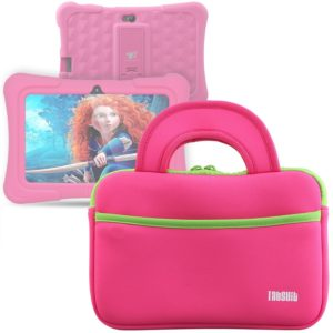 tabsuit-7-dragon-touch-kids-tablet-kingpad-k77-tablet-ultra-portable-neoprene-zipper-carrying-sleeve-case-bag-with-accessory-pocket-pink